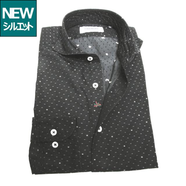 [SALE]GALLIPOLI camiceria(ガリポリカミチェリア) 日本製 イタリア生地星型ジャガード織りコットンカッタウエイ長袖 ブラックデニムシャツ 250662-103