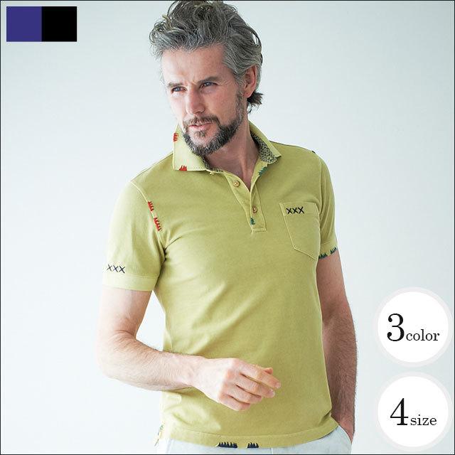 WEB限定SALE商品 g-stageハンドステッチ製品洗い染め鹿の子半袖ポロシャツ 341563 父の日 ギフト ポロシャツ