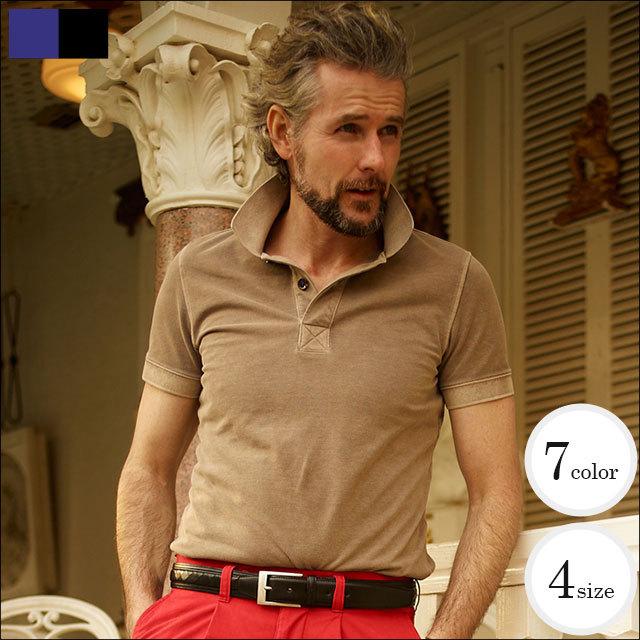 WEB限定SALE商品MEN'S EX掲載 製品洗い染め鹿の子無地半袖ポロシャツ 341564/551550 ジーステージ