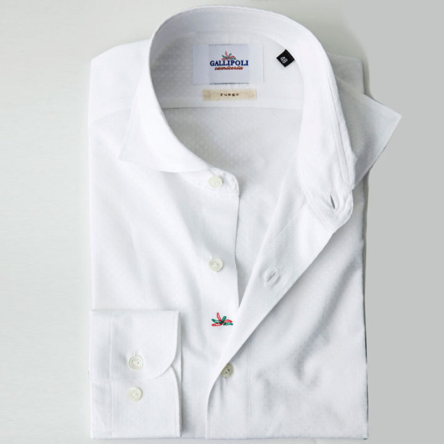 イタリア製 ジャガード織りコットンカッタウェ長袖カジュアルシャツ 自信が持てる仕事着 カジュアルシャツ ビジネスシャツ ホワイトシャツ ワイドカラー  370651-228 GALLIPOLI camiceria(ガリポリカミチェリア)