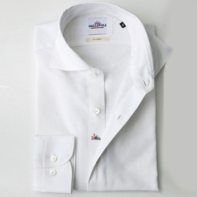 イタリア製 ジャガード織りコットンカッタウェ長袖カジュアルシャツ  カジュアルシャツ ビジネスシャツ ホワイトシャツ ワイドカラー  370651-229 自信が持てる仕事着 GALLIPOLI camiceria(ガリポリカミチェリア)