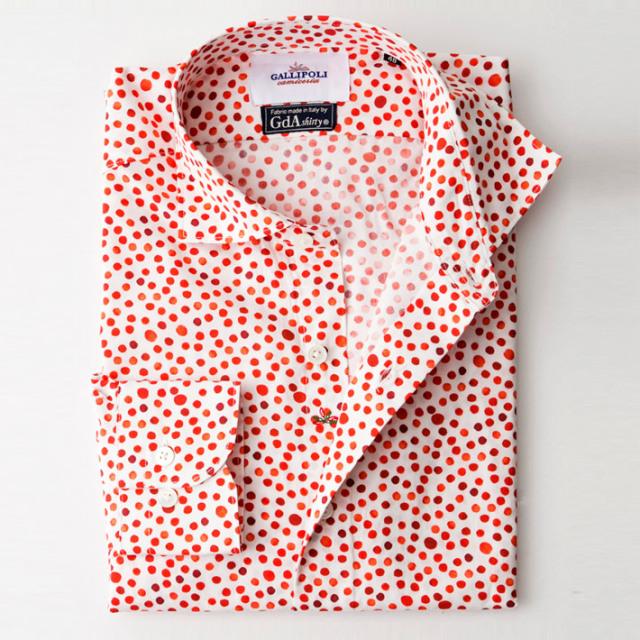 日本縫製イタリア製生地 Gda社製生地 ドット柄 長袖カジュアルシャツ セミワイド レッド 370656-118 GALLIPOLI camiceria(ガリポリカミチェリア)