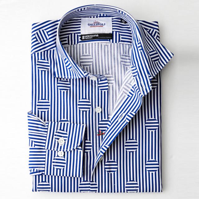 日本縫製 スロベニアTEXTINA社製生地 ボーダー ドット柄 長袖カジュアルシャツ セミワイド ブルー ストライプ 370658-010 GALLIPOLI camiceria(ガリポリカミチェリア)