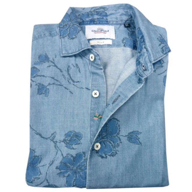 日本縫製イタリア製生地 花柄 インディゴ長袖カジュアルシャツ インディゴシャツ セミワイド ネイビー 370660-114 GALLIPOLI camiceria(ガリポリカミチェリア)
