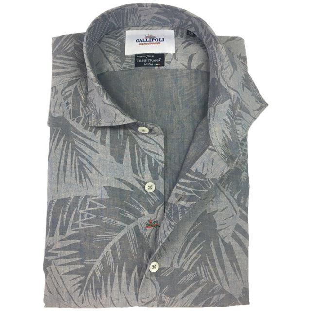 日本縫製イタリア製生地 リネンフェードボタニカルプリントシャツ セミワイド ブルーグレー 370662-110 GALLIPOLI camiceria(ガリポリカミチェリア)