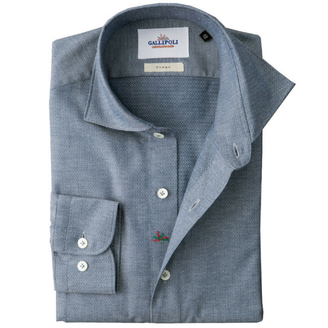 イタリア製 ジャガード織りコットンカッタウェ長袖カジュアルシャツ イタリア シャツ ワイドカラー ホリゾンタルカラー ブルー系 460650-100 GALLIPOLI camiceria(ガリポリカミチェリア)