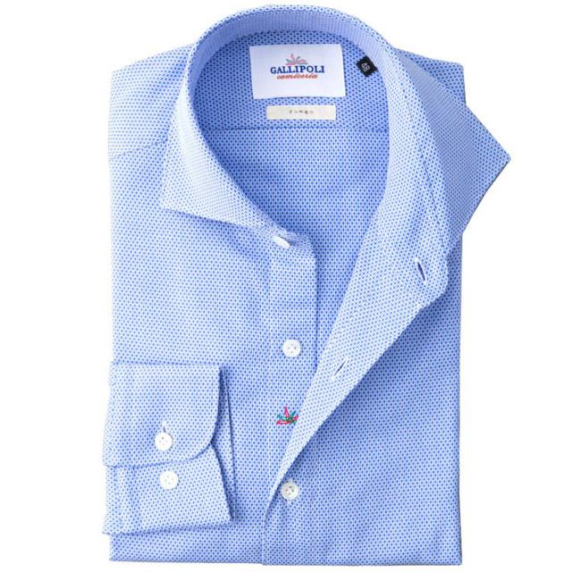イタリア製 ジャガード織りコットンカッタウェ長袖カジュアルシャツ イタリア シャツ ワイドカラー ホリゾンタルカラー ブルー 460650-102 GALLIPOLI camiceria(ガリポリカミチェリア)