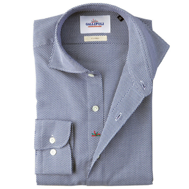 イタリア製 ジャガード織りコットンカッタウェ長袖カジュアルシャツ イタリア シャツ ワイドカラー ホリゾンタルカラー ネイビー 460650-103 GALLIPOLI camiceria(ガリポリカミチェリア)