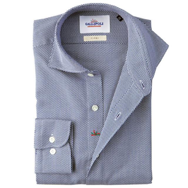 イタリア製 ジャガード織りコットンカッタウェ長袖カジュアルシャツ  イタリア製シャツ ワイドカラー ネイビー  自信が持てる仕事着 460650-103 GALLIPOLI camiceria(ガリポリカミチェリア)