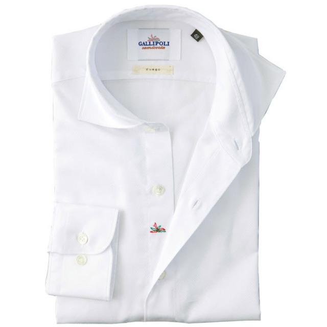 イタリア製 ジャガード織りコットンカッタウェ長袖カジュアルシャツ 白シャツ ワイドカラー イタリア製シャツ ホワイト 自信が持てる仕事着  460650-104 GALLIPOLI camiceria(ガリポリカミチェリア)