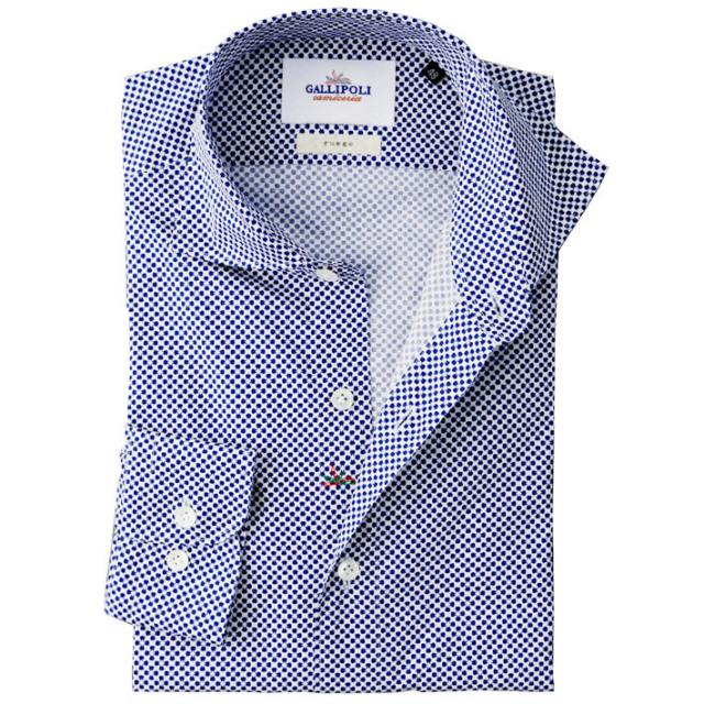 イタリア製 フラワーモチーフの小紋柄コットンカッタウェ長袖カジュアルシャツ イタリアシャツ ワイドカラー ホリゾンタルカラー ネイビー 460652-107 GALLIPOLI camiceria(ガリポリカミチェリア)