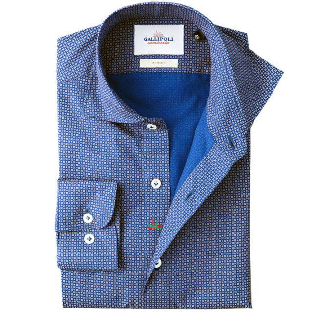 イタリア製 フラワーモチーフの小紋柄コットンカッタウェ長袖カジュアルシャツ イタリアシャツ ワイドカラー ホリゾンタルカラー ネイビー 460652-108 GALLIPOLI camiceria(ガリポリカミチェリア)