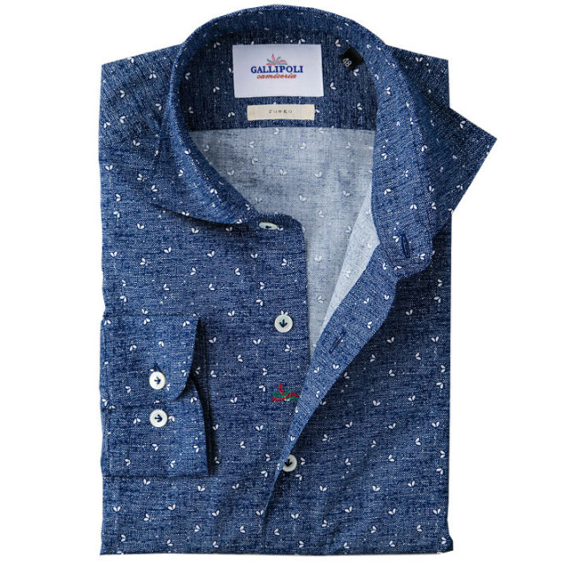 イタリア製 小紋柄コットンカッタウェ長袖カジュアルシャツ イタリアシャツ ワイドカラー ホリゾンタルカラー ネイビー 460652-109 GALLIPOLI camiceria(ガリポリカミチェリア)