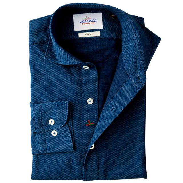 イタリア製 インディゴ染めオックスコットンカッタウェイ長袖カジュアルシャツ イタリアシャツ ワイドカラー イタリア製シャツ  460653-110 GALLIPOLI camiceria(ガリポリカミチェリア)