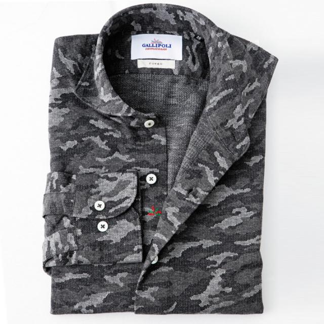 日本製 ジャージ素材のストレッチカモフラジャガードシャツ カジュアルシャツ ストレッチシャツ  460660-004 GALLIPOLI camiceria(ガリポリカミチェリア)