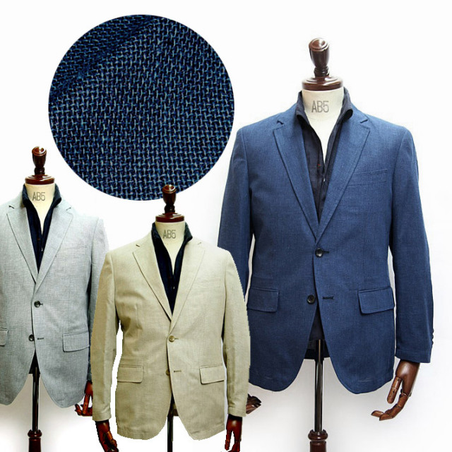 【WEB限定価格】FIDATO(フィダート) リネン混軽量ホップサックジャケット 550209