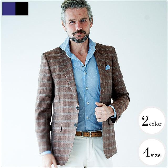 WEB限定SALE商品 イタリア製生地 麻混サマーウール2ツボタンジャケット ブラウン チェック 550246