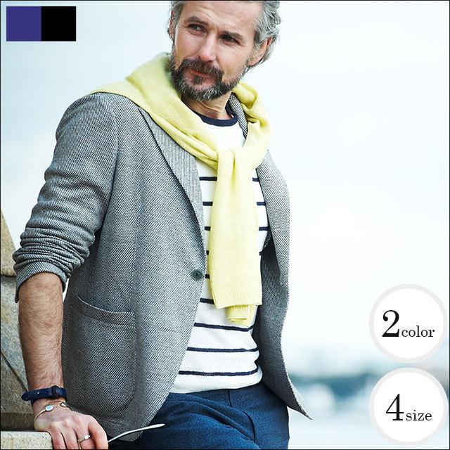 G-stage(ジーステージ) イタリア製 綿麻鹿の子織りニットジャケット 全2色(ライトグレー ネイビー) 550269