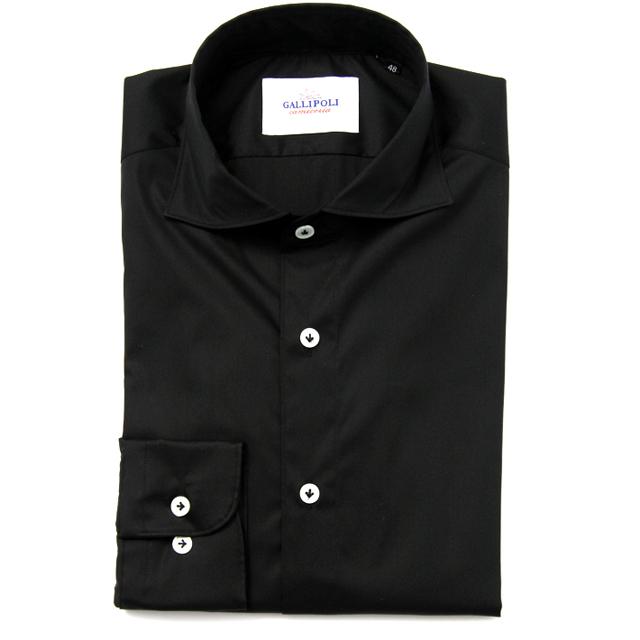 GALLIPOLIイタリア製無地ブラック無地カッタウェイ長袖ストレッチカジュアルシャツ  550661-105