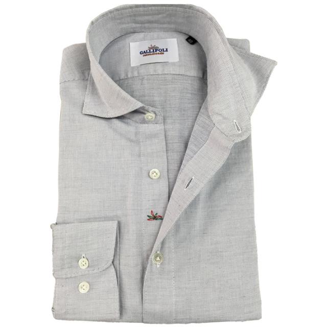 GALLIPOLI camiceria イタリア製ネイビーxホワイトピンチェックの織柄カッタウエイ長袖カジュアルコットンシャツ  550661-268