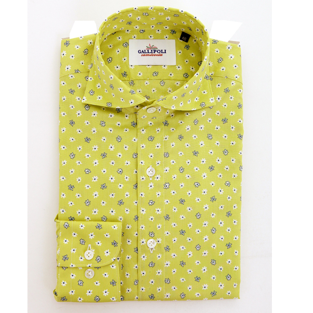GALLIPOLIイタリア製フラワー柄のコットンカッタウェイ長袖カジュアルシャツ  550662-015