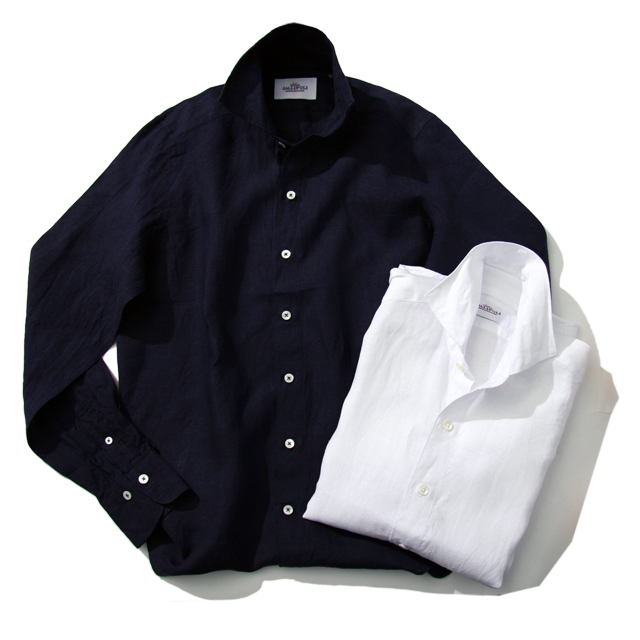 GALLIPOLI camiceria(ガリポリカミチェリア) 日本縫製 リネンカッタウェイ先染め無地長袖シャツ 550675