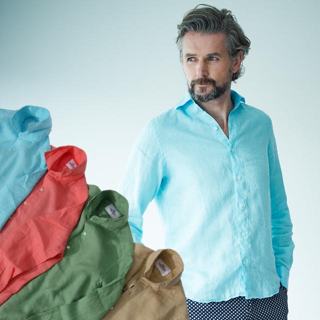 GALLIPOLI camiceria(ガリポリカミチェリア) 日本縫製 リネンカッタウェイ先染め無地長袖カラーシャツ 550676