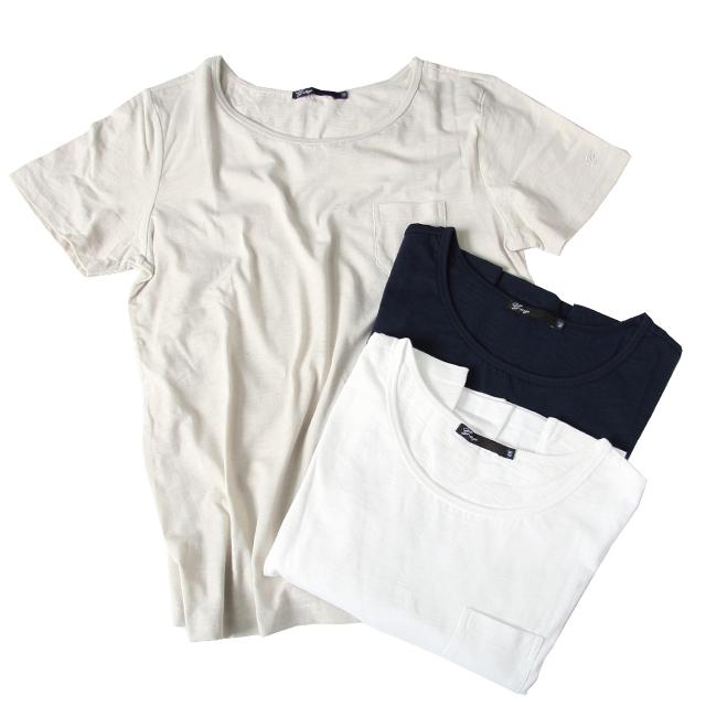 G-stage(ジーステージ) 天竺ストレッチクルーネックTシャツ ホワイト/ベージュ/ネイビー 551581
