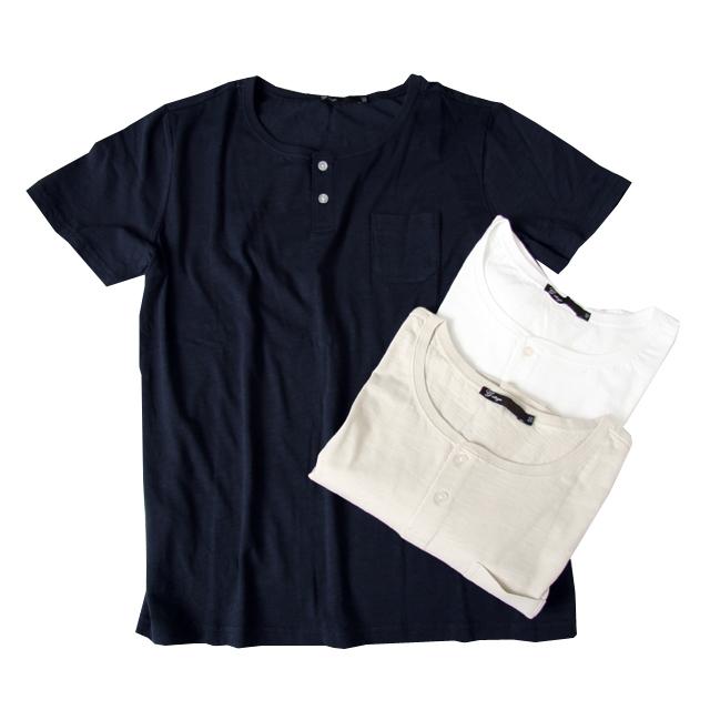 G-stage(ジーステージ) 天竺ストレッチヘンリーネックTシャツ ホワイト/ベージュ/ネイビー 551582
