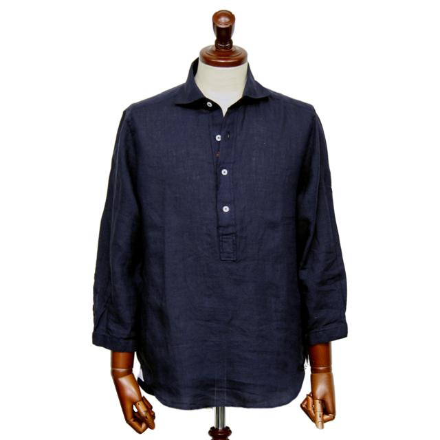 GALLIPOLI camiceria 日本製リネン100%無地七分袖プルオーバーシャツ ネイビー 551651-010