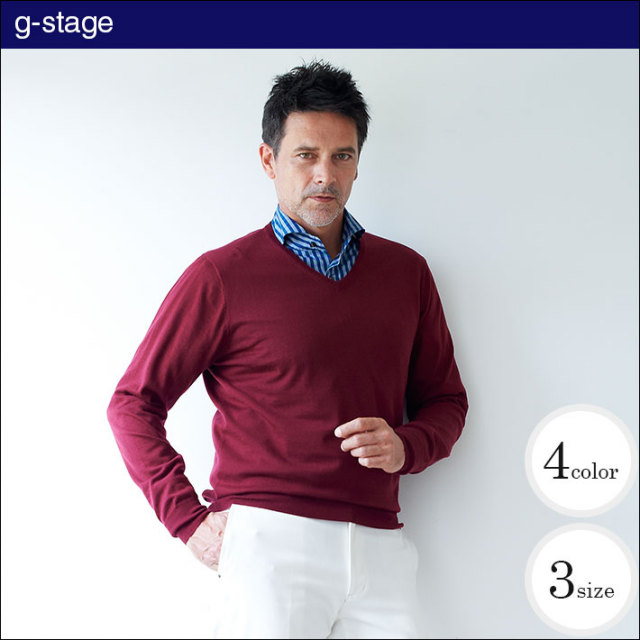 g-stage(ジーステージ) LEON掲載 EXファインメリノウールVネックカラーセーター 640750
