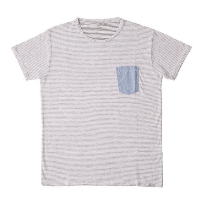 ボーダー柄コットンTシャツ Tシャツ カットソー メンズ 綿 ボーダー T60402E7 fiver(ファイバー)