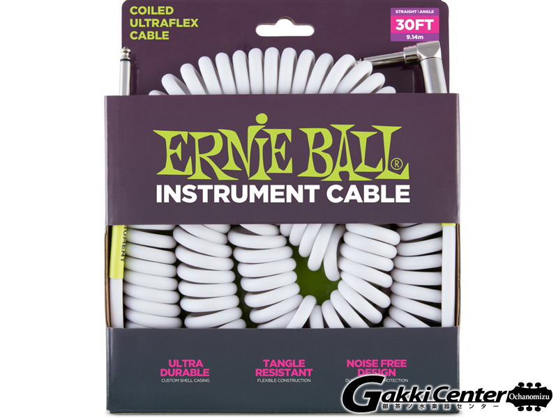 ERNiE BALL 30' COILED STRAIGHT/ANGLE INSTRUMENT CABLE - WHITE #6045