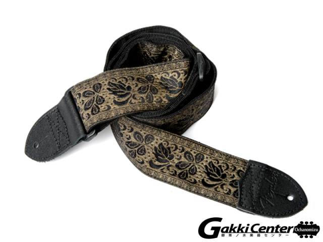 "Fender 2"" Nylon Jacquard Straps Metallic Gold with Black Rose"