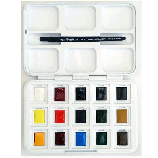 ヴァンゴッホ固形水彩絵具 15色セット(12色+3色セット)(ポケットボックス)