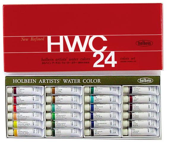 【30%OFF】ホルベイン・透明水彩絵具 24色セット 2号チューブ