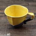 黒陶スクラッチ黄色マグカップ:山本文雅:007061