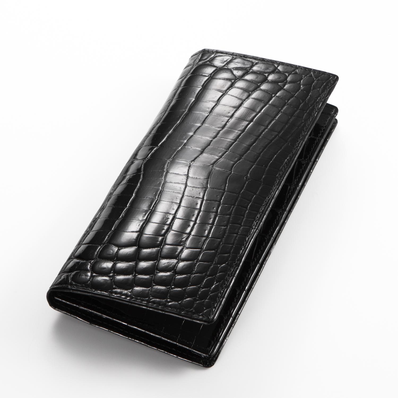 クロコダイルロングウォレット7枚カード(無双)[M0818]