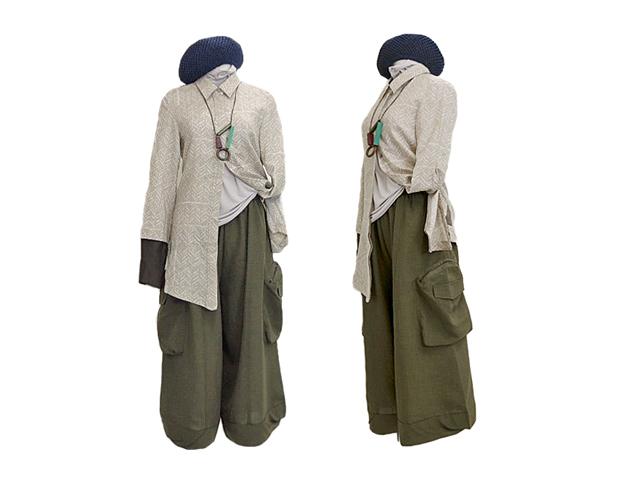 【FADselect】レディース◇M~Lサイズ☆カーキ サイド ポケット ハイウエストワイド パンツ ☆彡30%OFF