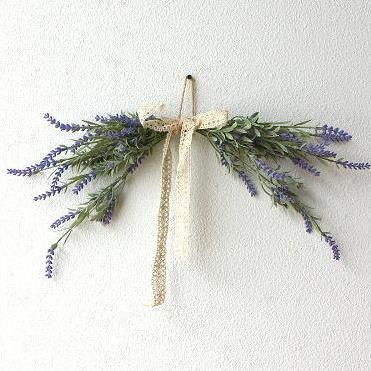 フェイクグリーン 壁飾り インテリア 造花 おしゃれ ナチュラル 人工観葉植物 ラベンダースワッグ