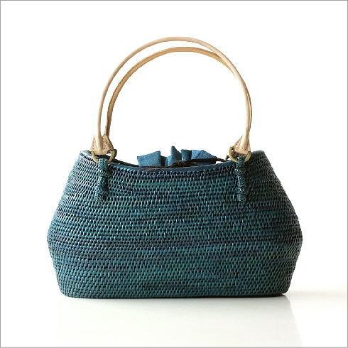 シンプル編みアタバッグ ターコイズ