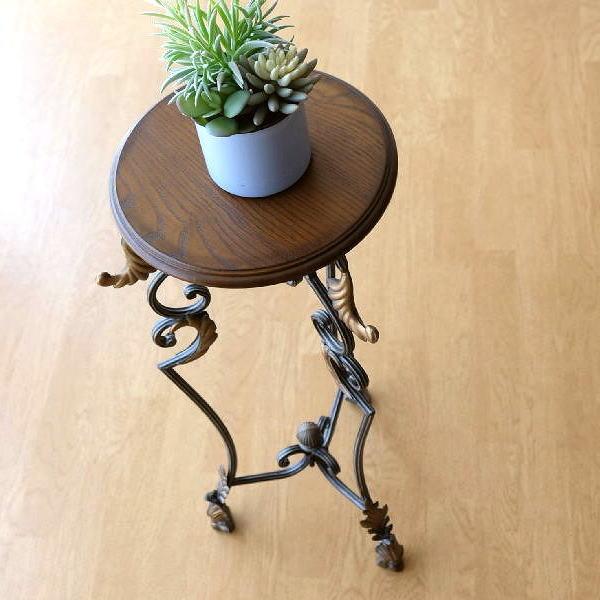 フラワースタンド アイアン 木製 おしゃれ アンティーク調 レトロ ヨーロピアン エレガントなスリム花台