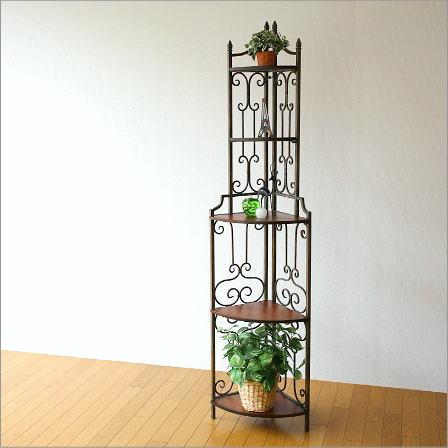 木製 飾り棚 スリム アイアンとウッドのスリムな5段コーナー棚【送料無料】