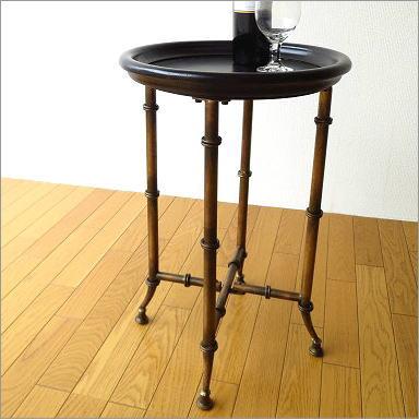 サイドテーブル ナイトテーブル コーヒーテーブル アイアンとウッドのトレイテーブル サークル【送料無料】