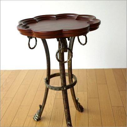 サイドテーブル ナイトテーブル コーヒーテーブル アイアンとウッドのトレイテーブル フラワー【送料無料】