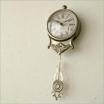 壁掛け時計 振り子時計 アンティーク風 シャビー レトロ おしゃれ ウォールクロック 小さな掛け時計