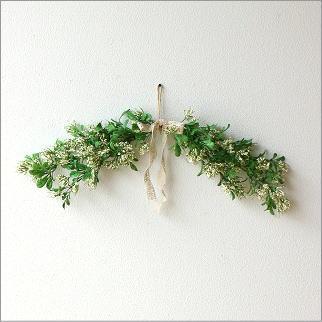 フェイクグリーン 壁飾り インテリア 造花 おしゃれ グリーン 人工観葉植物 ナチュラルリーフ スワッグ