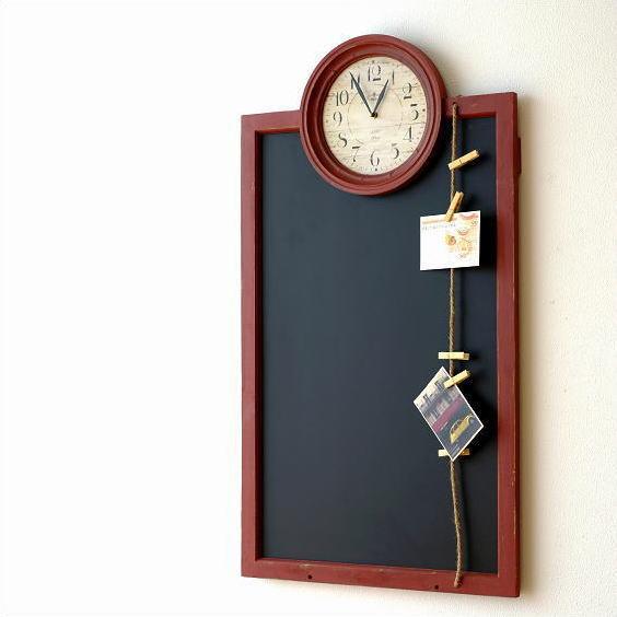 アンティークな時計付き黒板【送料無料】