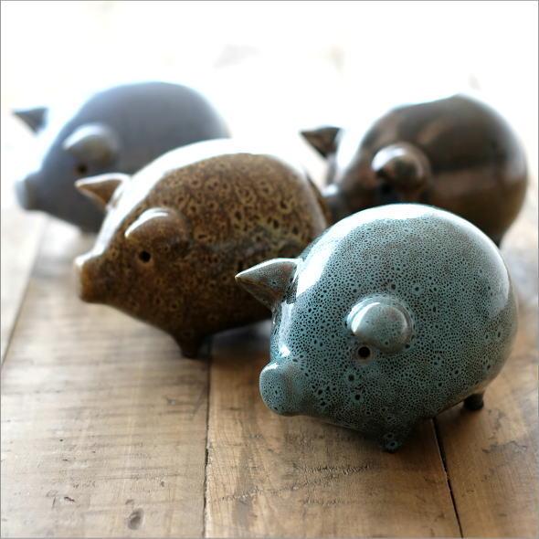 陶器のブタの置物 4カラー