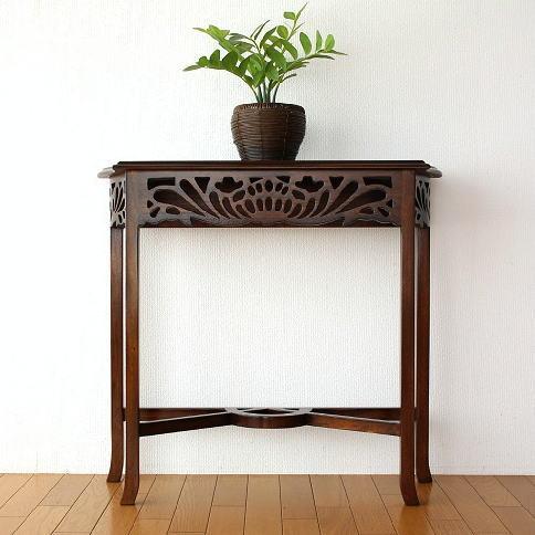 コンソールテーブル アンティーク風 無垢 サイドテーブル 玄関 花台 木製 マホガニーコンソール透かし彫り【送料無料】